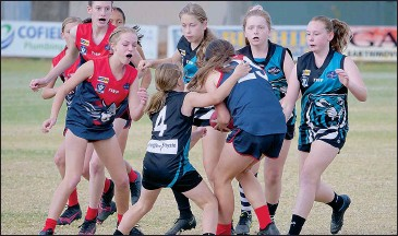 ??  ?? It was a tough day at the office for the junior Felines coming up against the strong Wodonga Raiders team. They continue to show plenty of improvement week after week. Photo by Simon Ginns.