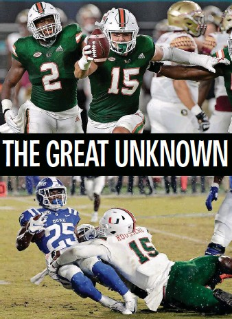 ?? Top, South Florida Sun Sentinel (2020); bottom, Associated Press (2019) ?? Top, Miami's Jaelan Phillips celebrates an interception against Florida State in 2020. Bottom, Miami's Gregory Rousseau tackles Duke's Deon Jackson in a 2019 game; Rousseau opted out of last season.