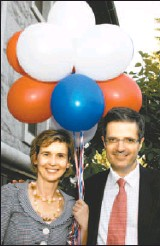 ?? LOIS SIEGEL, THE OTTAWA CITIZEN ?? To celebrate the national day of France, newly arrived Ambassador François Delattre hosted a reception at his residence Monday. Sophie L'Hélias-Delattre and Mr. Delattre pose for a picture.