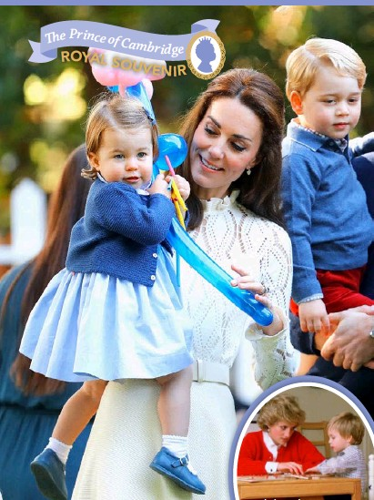 """??  ?? Below: Cheeky George with his nanny Maria Borrallo in June 2015. Below right: Kensington Palace, which William calls a """"children's paradise""""."""