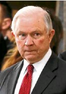 ?? —AFP ?? US Attorney General Jeff Sessions at funeral rites for cult leader Billy Graham on Feb. 28