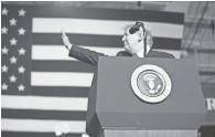 ?? CHERYL EVANS/ THE REPUBLIC ?? President Donald Trump speaks during a Make America Great Again Rally at International Air Response Hangar at Phoenix-Mesa Gateway Airport on Friday.