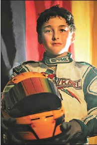 """?? MARIE-FRANCE COALLIER THE GAZETTE ?? """"No one beats me on this track,"""" Jesse Lazare, 10, says about his race tonight against F1 drivers at Kart-o-Mania."""