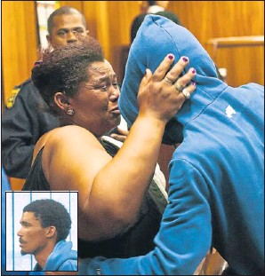 ?? Picture: MARK WEST ?? GUILTY VERDICT: Uitenhage farm worker Andrew Damons (also inset) embraces his mother Desire shortly after he was found guilty of the murder of businesswoman Rene Slater