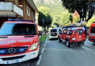 ?? (Foto Vigili del fuoco) ?? Viale Canella Il luogo dell'investimento di ieri mattina dove una donna di 59 anni è stata travolta da un'auto sulle strisce