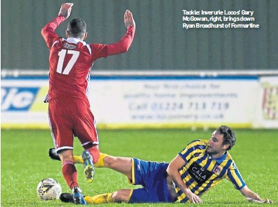 ??  ?? Tackle: Inverurie Locos' Gary McGowan, right, brings down Ryan Broadhurst of Formartine