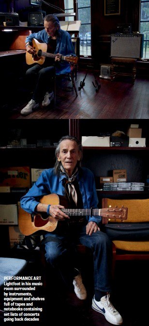 ??  ?? PERFORMANCE ART Lightfoot in his music room surrounded by instruments, equipment and shelves full of tapes and notebooks containing set lists of concerts going back decades