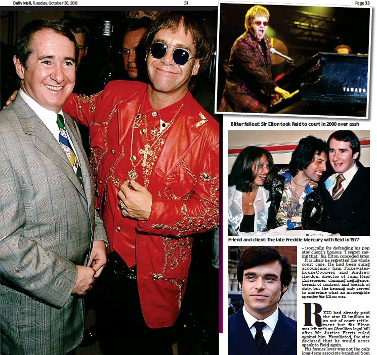 ??  ?? 'First great love': Sir Elton in 1992 with John Reid, his former partner and manager for 25 years Bitter fallout: Sir Elton took Reid to court in 2000 over cash