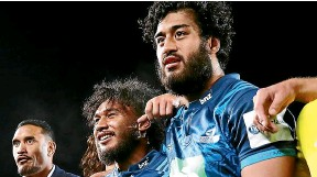??  ?? Above, Akira Ioane with great mate TJ Faiane after winning a Super Rugby match for their beloved Blues; right, shaking hands after a job well done with brother, Blues and All Blacks team-mate Rieko; insert, taking time out at training to gather his thoughts and assess his best line of attack.
