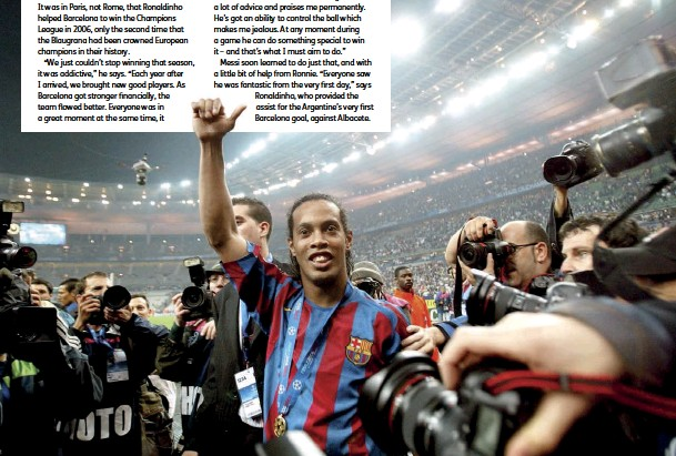 ??  ?? Below Savouring European Cup success in 2006 after overcoming Arsenal at the Stade de France