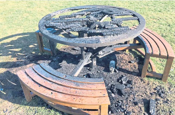 """??  ?? """"SHAMEFUL"""": The damaged picnic table and grass at Dundee beauty spot Magdalen Green, seemingly caused by a disposable barbecue."""