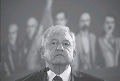 ?? CHRISTIAN PALMA/ASSOCIATED PRESS ?? While campaigning, Mexican President Andrés Manuel López Obrador, above, was critical of President Trump, but he seems to have a better relationship with the U.S. leader than his predecessor, Enrique Peña Nieto.