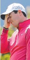 ??  ?? HORROR STORY: Rory McIlroy on his way to 80.