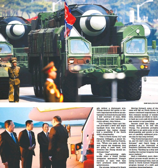 ?? MATTHEW LEE/POOL/REUTERS DAMIR SAGOLJ/REUTERS ?? TOP: Missiles are featured in a military parade last year in Pyongyang. North Korea's arsenal has long been a point of pride. ABOVE: The meeting of Secretary of State Mike Pompeo, shown bidding farewell to North Korean officials on May 9, and leader...