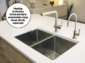 ??  ?? Plumbing for the deep 10-inch sink had to accommodate a large drawer directly underneath