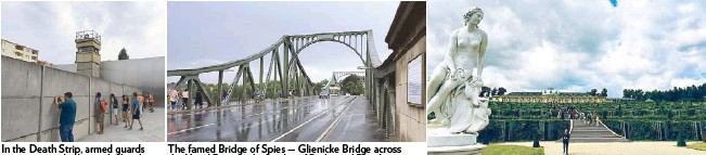 ??  ?? In the Death Strip, armed guards in towers watched over the border between East and West Berlin. The famed Bridge of Spies — Glienicke Bridge across the Havel River at the border of Berlin and Potsdam — was an exchange point for Cold War agents....