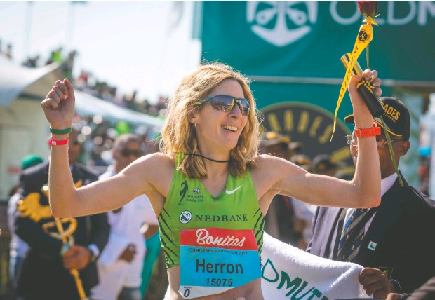 ?? RAJESH JANTILAL / AFP via Gett y Images files ?? American Camille Herron beat 120 men and 60 women to win the Tunnel Hill 100-Mile trail race in Illinois in 2017.