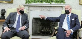 ?? /Reuters ?? Now hear this: At his meeting in the White House with UK Prime Minister Boris Johnson, US President Joe Biden left little doubt about his view on issues.