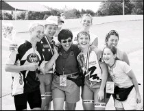 ??  ?? FOND MEMORIES: Kathy Volski, center, is stepping down as manager of Alkek Velodrome after 18 years.