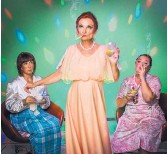 """?? COURTESY OF RUSSELL MAYNOR ?? Laira Magnusson, Colleen Neary McClure and Jessica Osbourne star in """"Abigail's Party."""""""