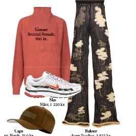 ??  ?? Genser Second Female, 950 kr. Caps 66 North, 510 kr. Sko Nike, 1 220 kr. Bukser Acne Studios, 3 815 kr.