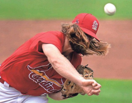 ?? JEFF ROBERSON/AP ?? Cardinals pitcher John Gant helped get spring training games underway Sunday in a game against the Nationals in Jupiter, Florida. The game ended 4-4 after nine innings.