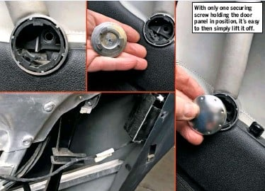 ??  ?? With only one securing screw holding the door panel in position, it's easy to then simply lift it off.