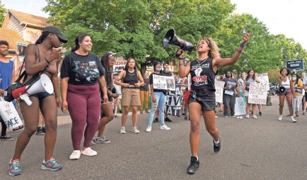 ?? PROVIDED BY CARLOS GONZALEZ ?? Protesters demonstrate outside of the home of U.S. Marshal Ramona Dohman on Tuesday in Minneapolis, over the fatal shooting of Winston Boogie Smith Jr., the week before.