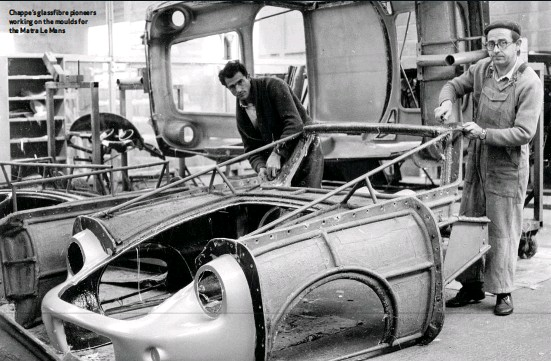 ??  ?? Chappe's glassfibre pioneers working on the moulds for the Matra Le Mans