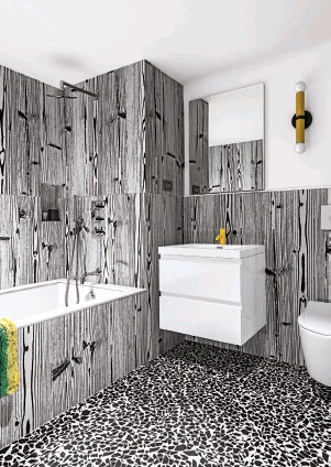 ??  ?? Bathroom The porcelain floor tiles are by Florim, and the wall tiles are from 14 Ora Italiana.