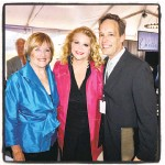 ?? Catherine Bigelow / Special to The Chronicle ?? Opera singers Frederica von Stade (left) and Susan Graham with composer Jake Heggie at the party that established the initiative as a funding model to support the arts and the environment.