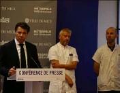 ?? (Photo Ville de Nice) ?? Christian Estrosi, le Pr Olivier Guérin et le Dr Frédéric Prate ont annoncé que tous les habitants de Nice volontaires pourront bénéficier d'un test sérologique pris en charge par la commune.