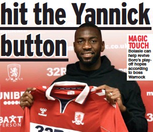 ??  ?? MAGIC TOUCH Bolasie can help revive Boro's playoff hopes according to boss Warnock