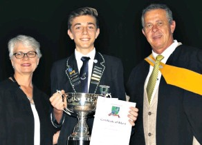 ??  ?? Grantleigh's Reevin Hermann was awarded the prestigous Dux 2018 Award by Juriana Filmalter and Andrew Norris