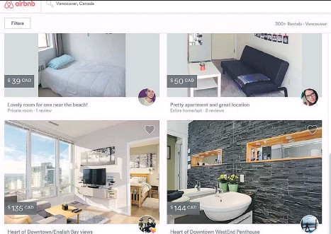 ??  ?? Crit­ics say short-term rentals, such as these Airbnb of­fer­ings in Van­cou­ver, of­ten take af­ford­able hous­ing out of the mar­ket al­to­gether.