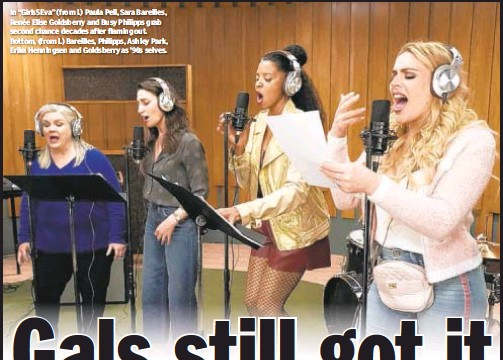 """??  ?? In """"Girls5Eva"""" (from l.) Paula Pell, Sara Bareilles, Renée Elise Goldsberry and Busy Philipps grab second chance decades after flaming out. Bottom, (from l.) Bareilles, Philipps, Ashley Park, Erika Henningsen and Goldsberry as '90s selves."""
