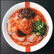 ?? PHOTOS PROVIDED TO CHINA DAILY ?? From left: Red (Spicy King), classic white pork (Original King) and squid ink (Dark King) are among the four types of ramen served at the Shanghai store.