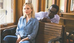 """?? COLLEEN HAYES/NBC ?? Kristen Bell plays Eleanor and William Jackson Harper stars as Chidi in NBC's philosophical comedy, """"The Good Place."""""""