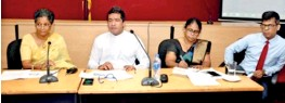 ??  ?? International Trade State Minister Sujeewa Senasinghe, EDB Chairperson Indra Malwatte and other officials gather at the Development Strategies and International Trade Ministry to track and plan the future implementation of the NES