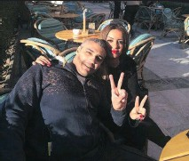 ?? TWITTER ?? Canadian journalist Mohamed Fahmy sits with his fiancée, Marwa Omara, at the Cairo Marriott Hotel on Friday.