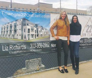 ??  ?? Above: Liz Richards (left) and Deviree Vallejo on site at 13th and Elati Street. Below: Architect's rendering of Triangle 22 on Elati townhomes headed for the Golden Triangle.