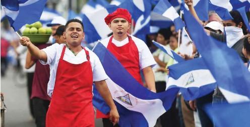 ?? Foto: AFP/Marvin Recinos ?? Seit April halten in Nicaragua die Proteste gegen die Regierung von Daniel Ortega an: Demonstration am 4. Juli in Managua