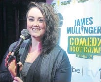 "?? TARA BRADBURY/THE TELEGRAM ?? Comedian Vicky Mullaley was named the Newfoundla­nd and Labrador winner of ""James Mullinger's Comedy Boot Camp"" after the comedy finals at Factory in St. John's Thursday evening."