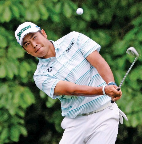??  ?? Japan's Hideki Matsuyama in action during the third round of the Augusta Masters on Saturday