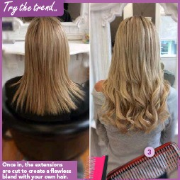 ??  ?? Once in, the extensions are cut to create a flawless blend with your own hair.