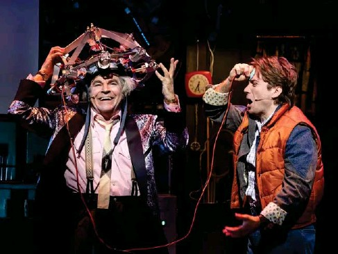 ?? (Sean Ebsworth Barnes) ?? Roger Bart and Oll y Dobson p l ay Doc and Marty in 'Back to the Future: The Musica l '