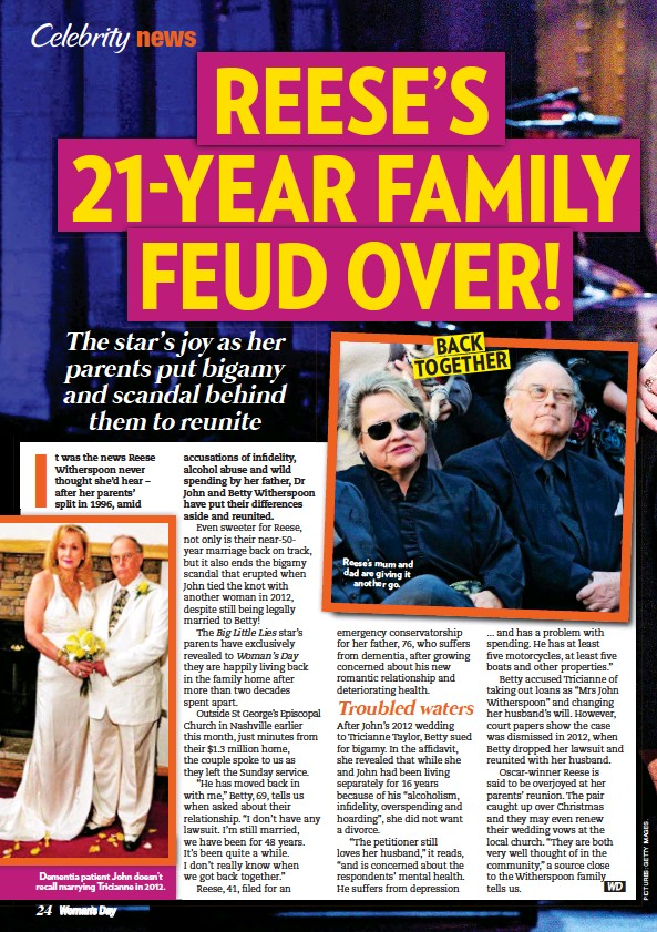 ??  ?? Dementia patient John doesn't recall marrying Tricianne in 2012. Reese's mum and dad are giving it another go.