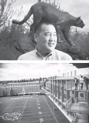 """?? PHOTOS BY RAJAH BOSE FOR THE WASHINGTON POST ?? Athletic Director Pat Chun arrived at footballmad Washington State after more than five years as Florida Atlantic's athletic director. """"It's not lost on me the significance of being the first Asian American athletic director at a Power Five,"""" he says."""