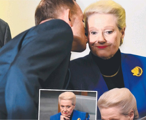 ??  ?? AXE FALLS: New Speaker Tony Smith takes his place in the House of Representatives (left); PM Tony Abbott kisses Bronwyn Bishop after the vote; her reaction as she watches proceedings. Pictures: AAP