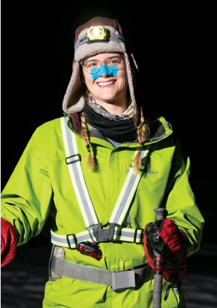 ??  ?? [1] The St. Croix winter ultramarathon covers 40 miles—from dusk till done—and draws athletes considering longer events. [2] Runner Meredith O'Neill likes being surrounded by nature.